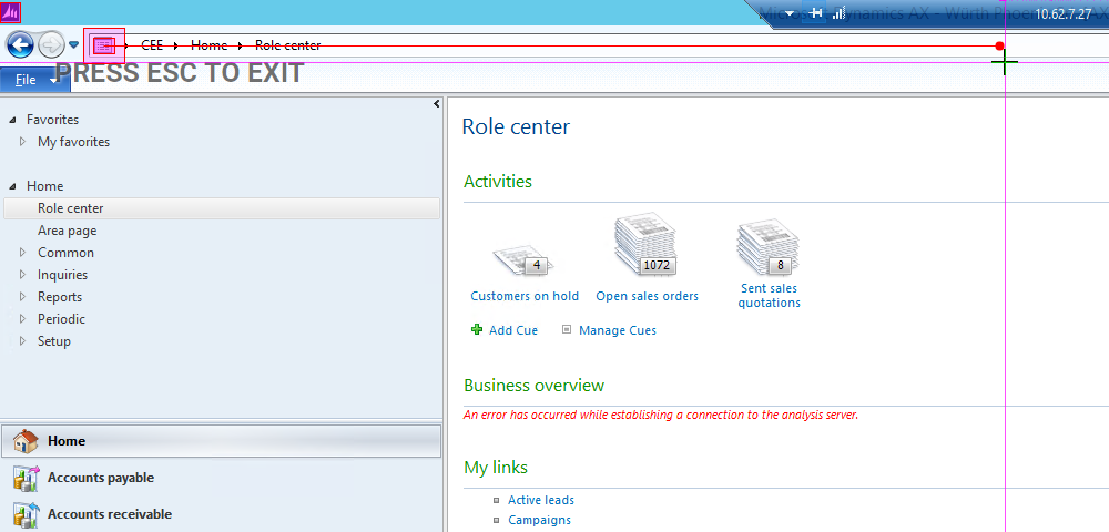 Annotated screen grab of navigation TCO